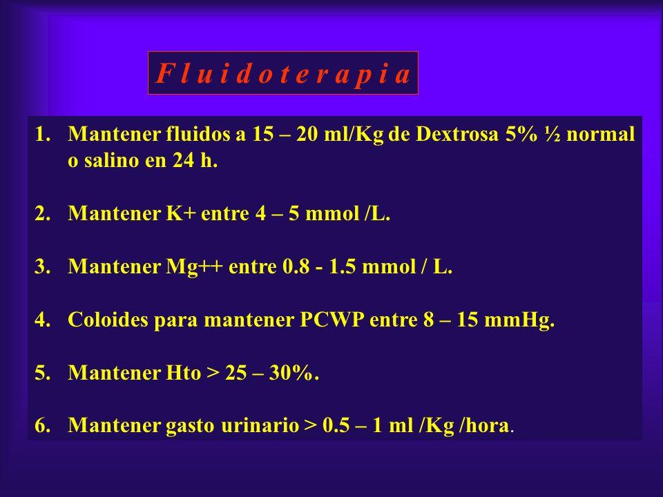 F l u i d o t e r a p i a Mantener fluidos a 15 – 20 ml/Kg de Dextrosa 5% ½ normal. o salino en 24 h.