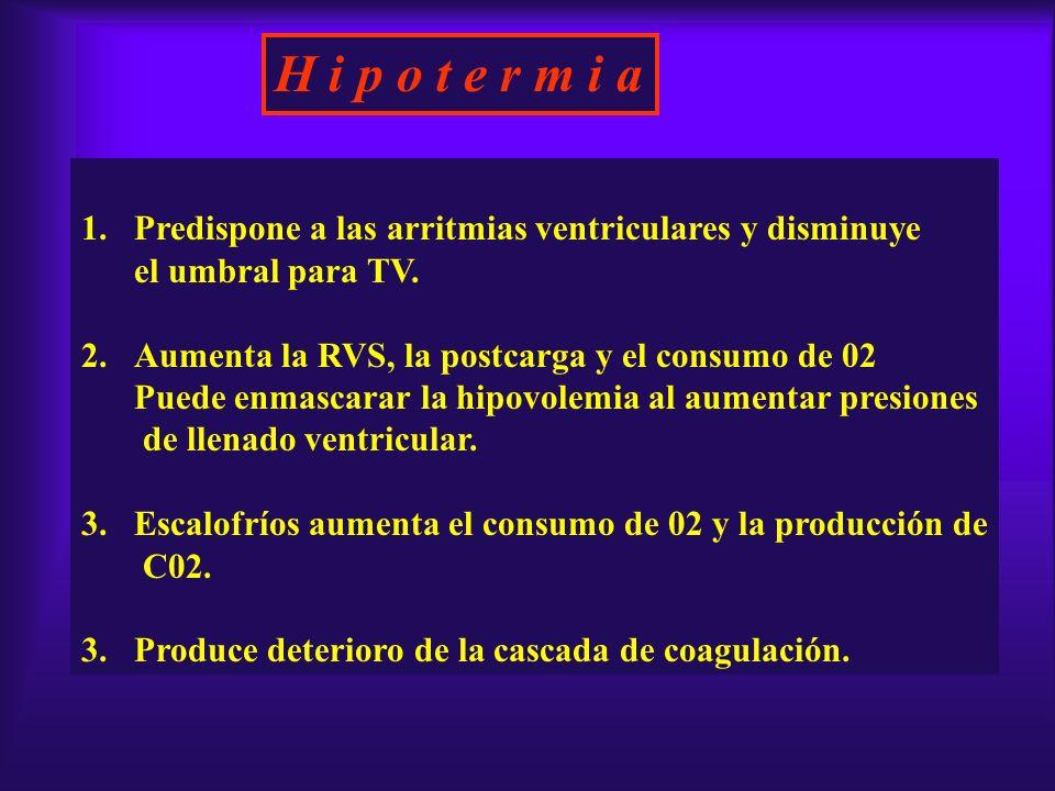 H i p o t e r m i a Predispone a las arritmias ventriculares y disminuye. el umbral para TV. Aumenta la RVS, la postcarga y el consumo de 02.