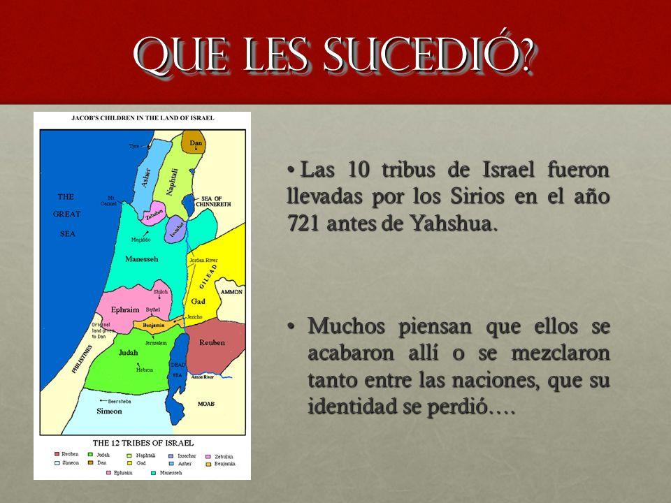 Que les sucedió Las 10 tribus de Israel fueron llevadas por los Sirios en el año 721 antes de Yahshua.