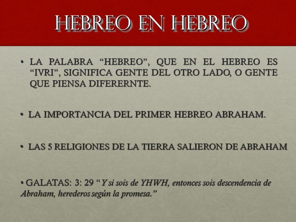 HEBREO EN HEBREO LA IMPORTANCIA DEL PRIMER HEBREO ABRAHAM.