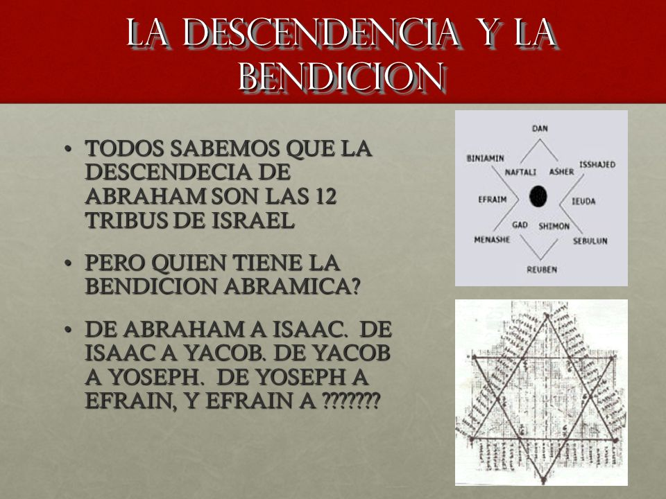 LA DESCENDENCIA Y LA BENDICION