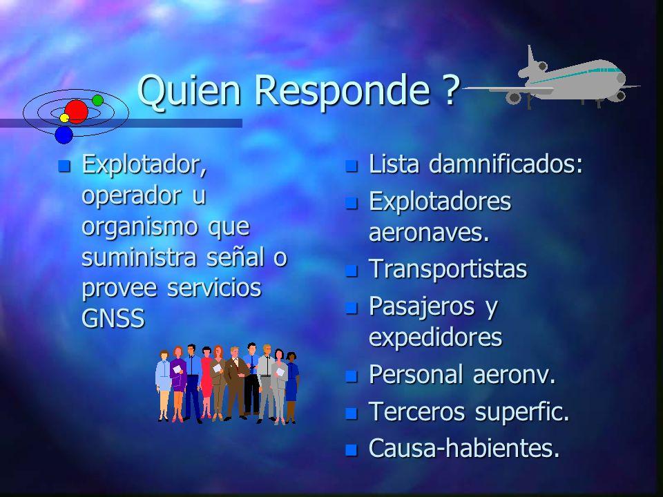Quien Responde Explotador, operador u organismo que suministra señal o provee servicios GNSS. Lista damnificados: