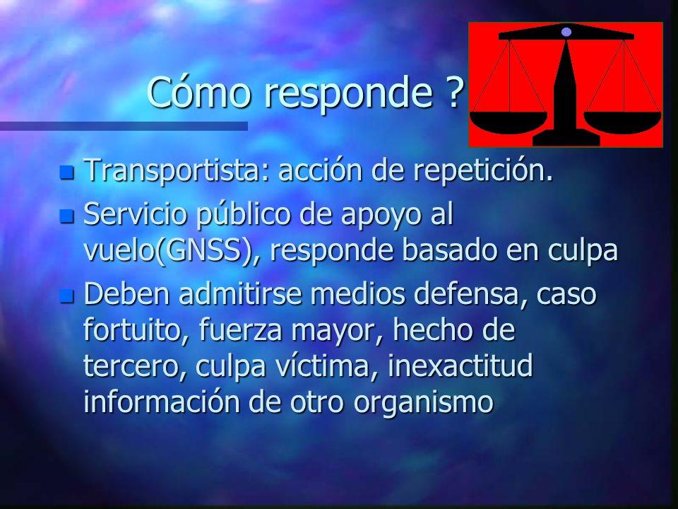 Cómo responde Transportista: acción de repetición.