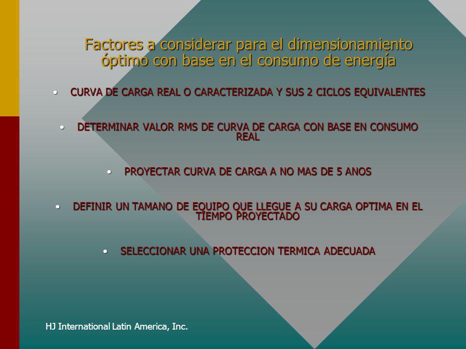 Factores a considerar para el dimensionamiento óptimo con base en el consumo de energía