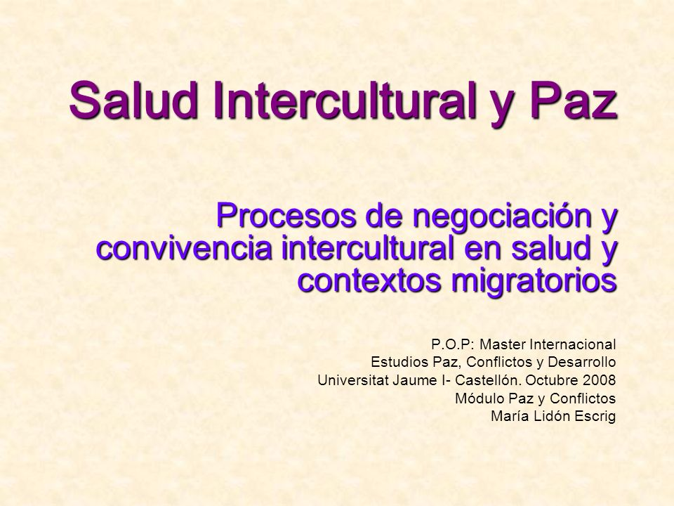 Salud Intercultural y Paz