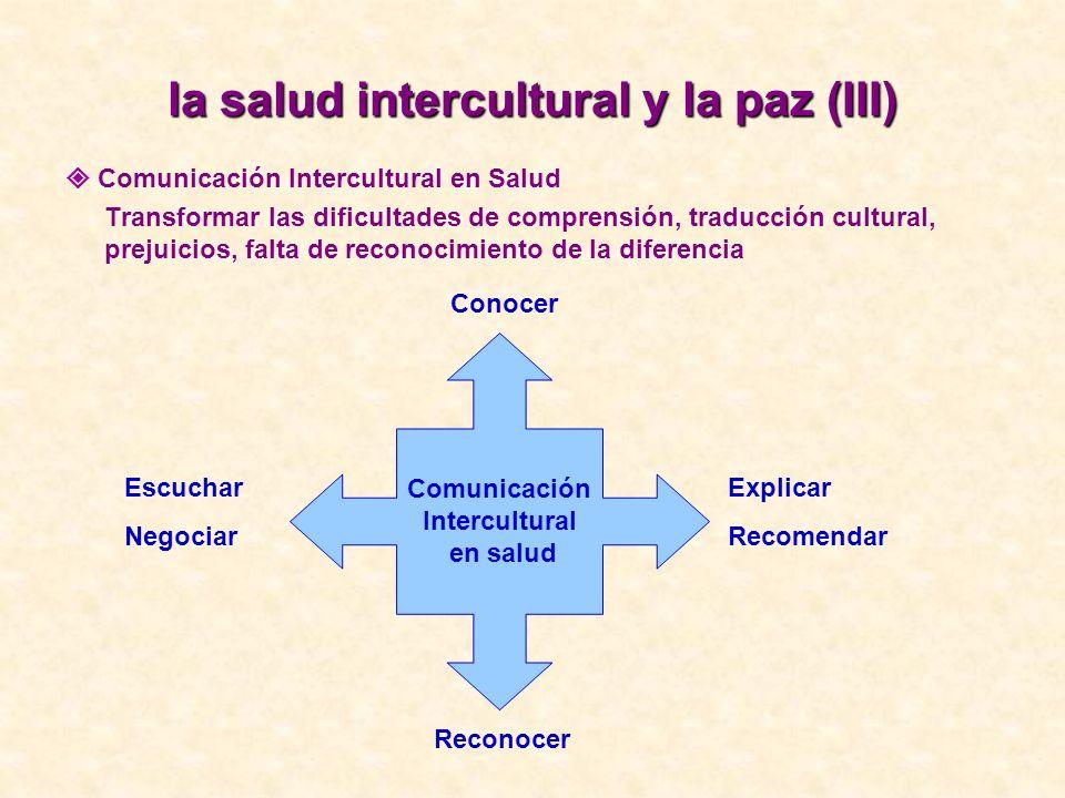 la salud intercultural y la paz (III)