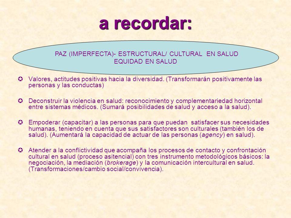 PAZ (IMPERFECTA)- ESTRUCTURAL/ CULTURAL EN SALUD