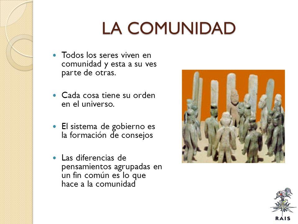 LA COMUNIDAD Todos los seres viven en comunidad y esta a su ves parte de otras. Cada cosa tiene su orden en el universo.