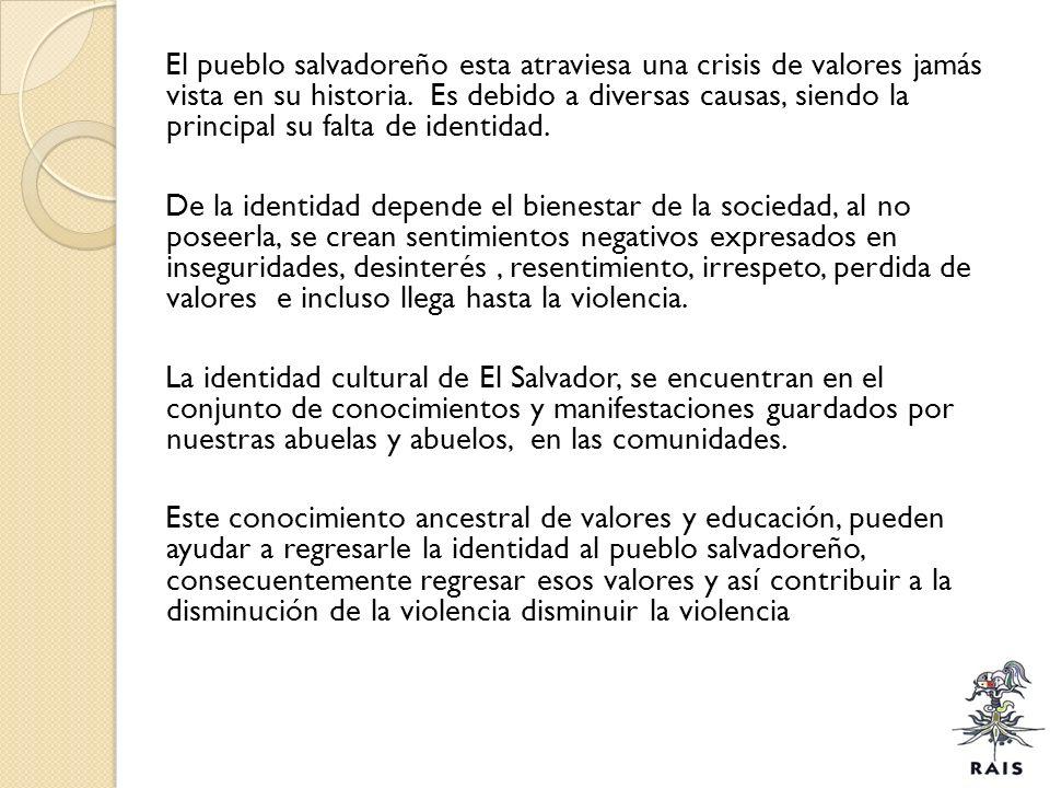 El pueblo salvadoreño esta atraviesa una crisis de valores jamás vista en su historia.