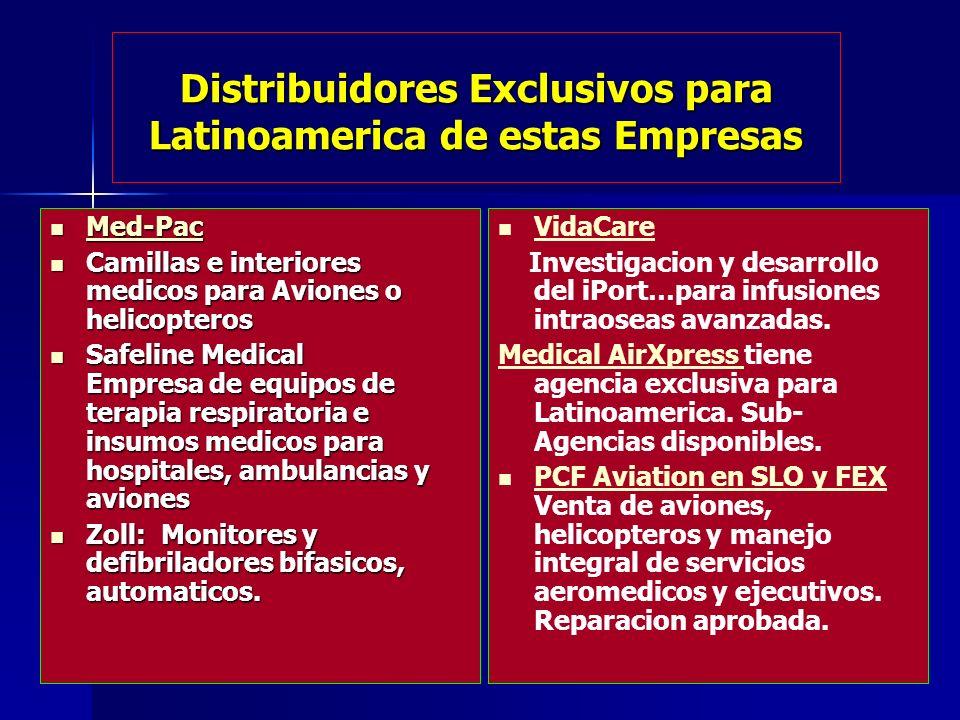 Distribuidores Exclusivos para Latinoamerica de estas Empresas