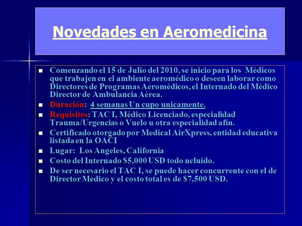 Novedades en Aeromedicina