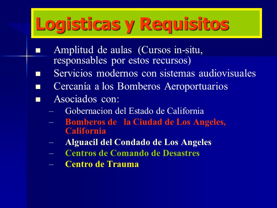 Logisticas y Requisitos