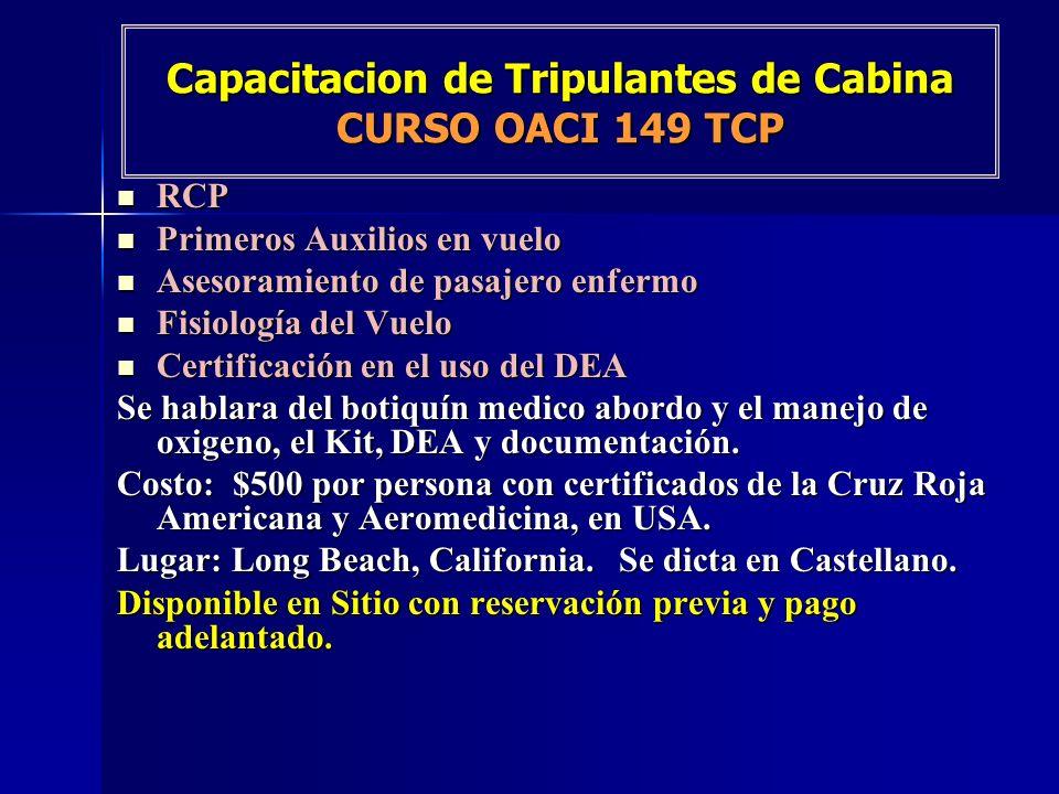 Capacitacion de Tripulantes de Cabina CURSO OACI 149 TCP