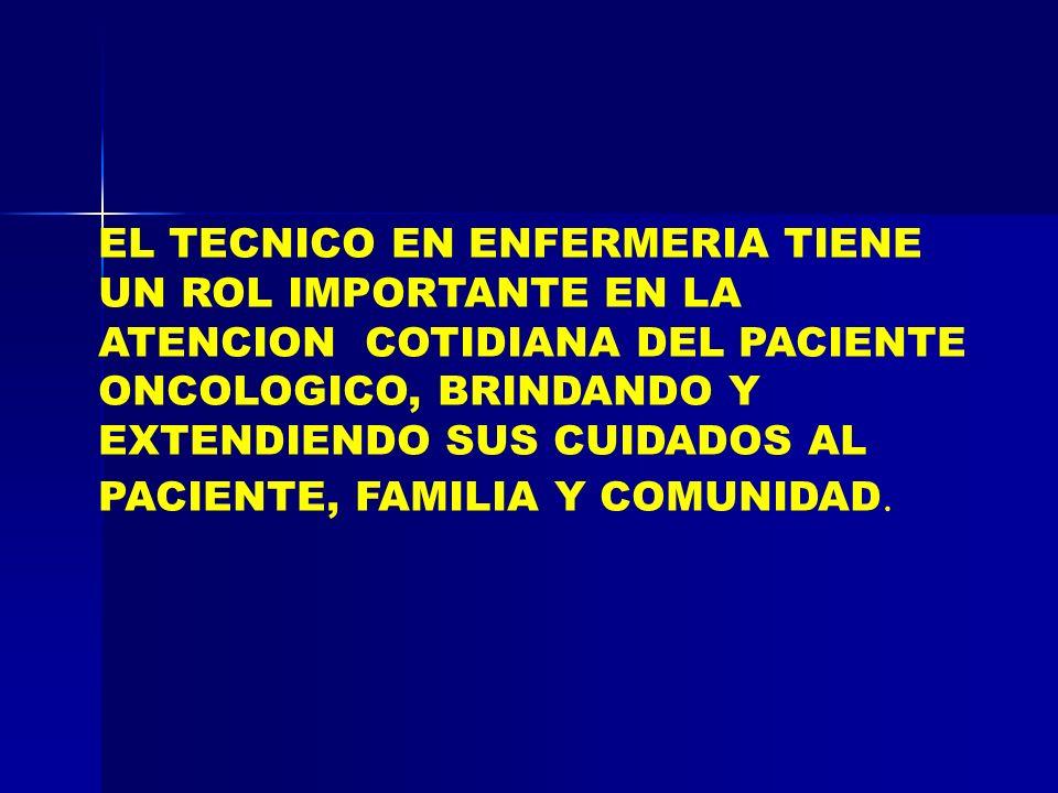 EL TECNICO EN ENFERMERIA TIENE UN ROL IMPORTANTE EN LA ATENCION COTIDIANA DEL PACIENTE ONCOLOGICO, BRINDANDO Y EXTENDIENDO SUS CUIDADOS AL PACIENTE, FAMILIA Y COMUNIDAD.