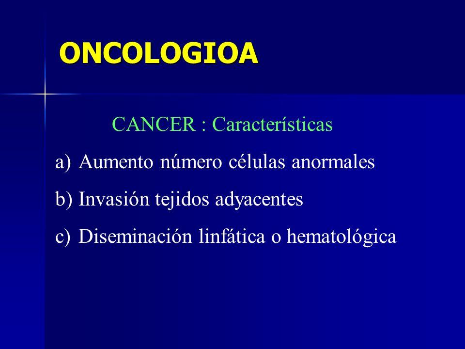 ONCOLOGIOA CANCER : Características Aumento número células anormales