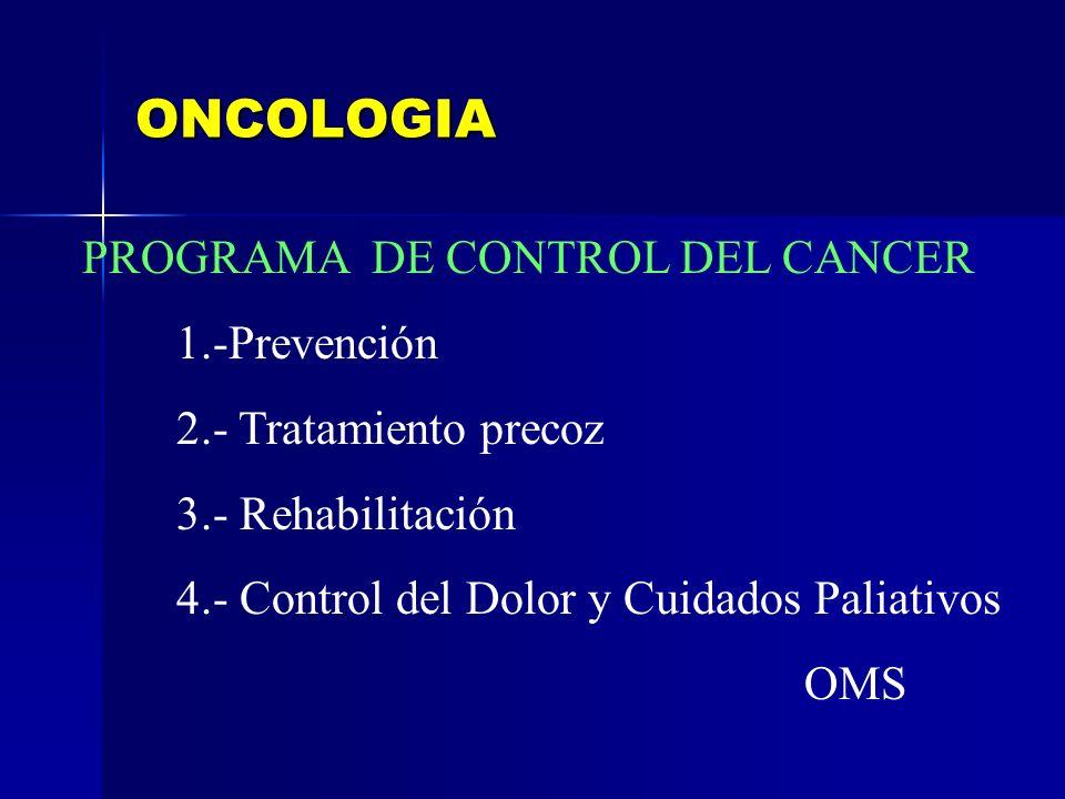 ONCOLOGIA PROGRAMA DE CONTROL DEL CANCER 1.-Prevención