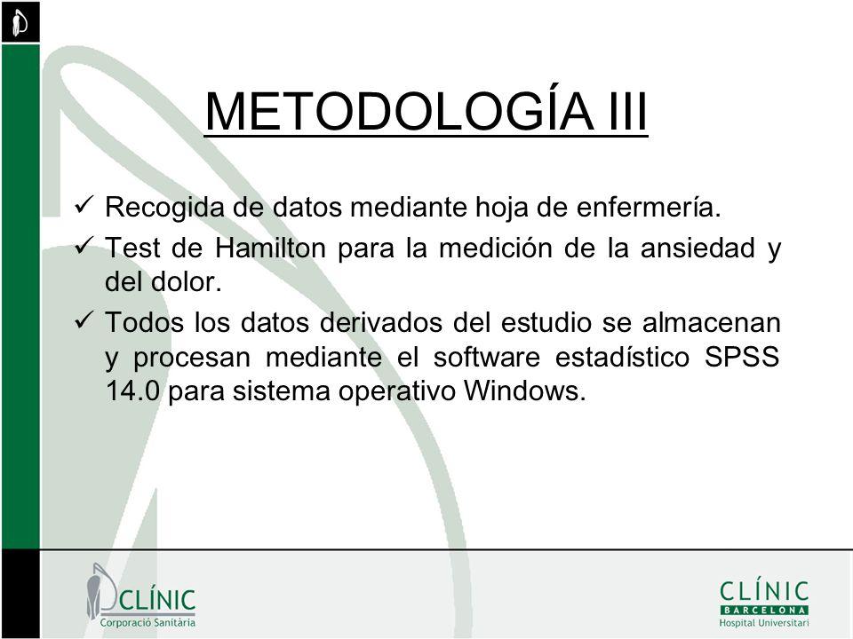 METODOLOGÍA III Recogida de datos mediante hoja de enfermería.