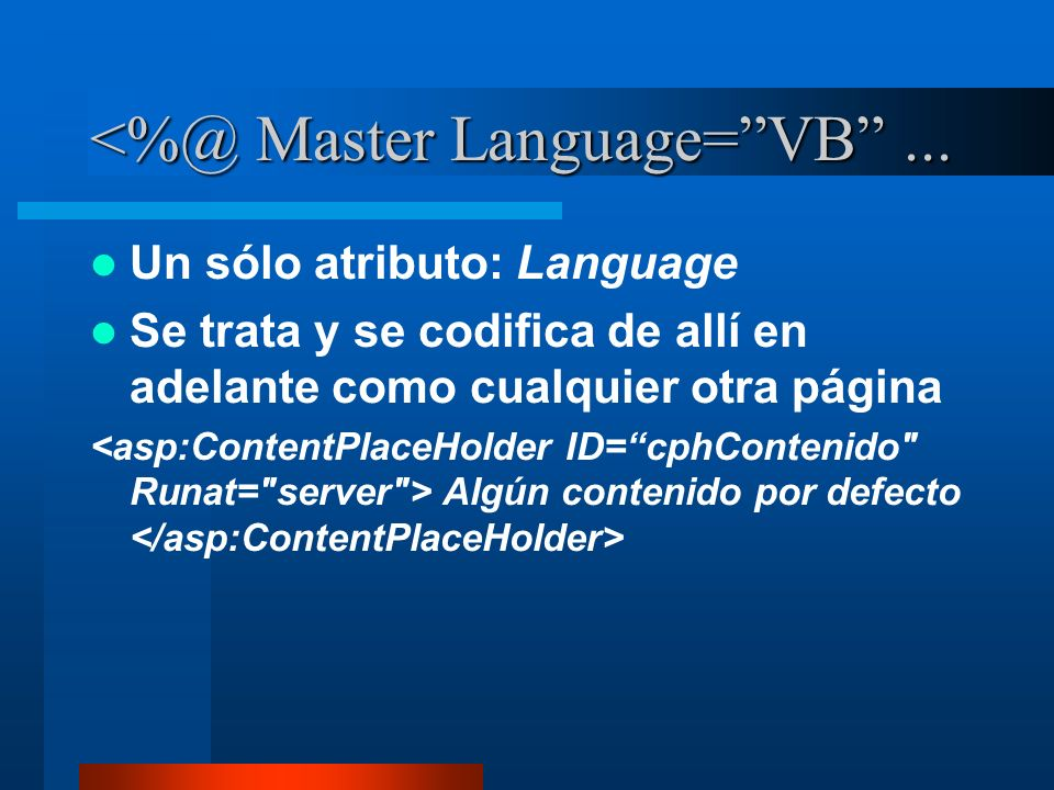 Master Language= VB ...