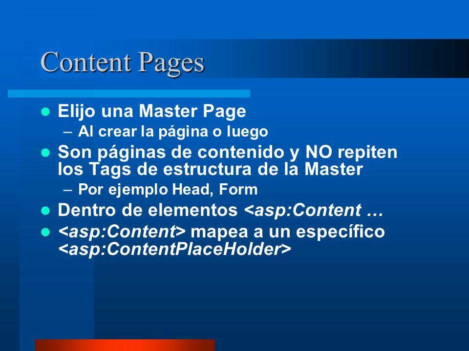 Content Pages Elijo una Master Page