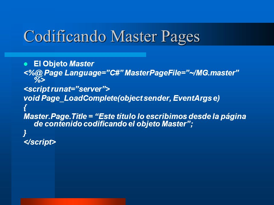 Codificando Master Pages
