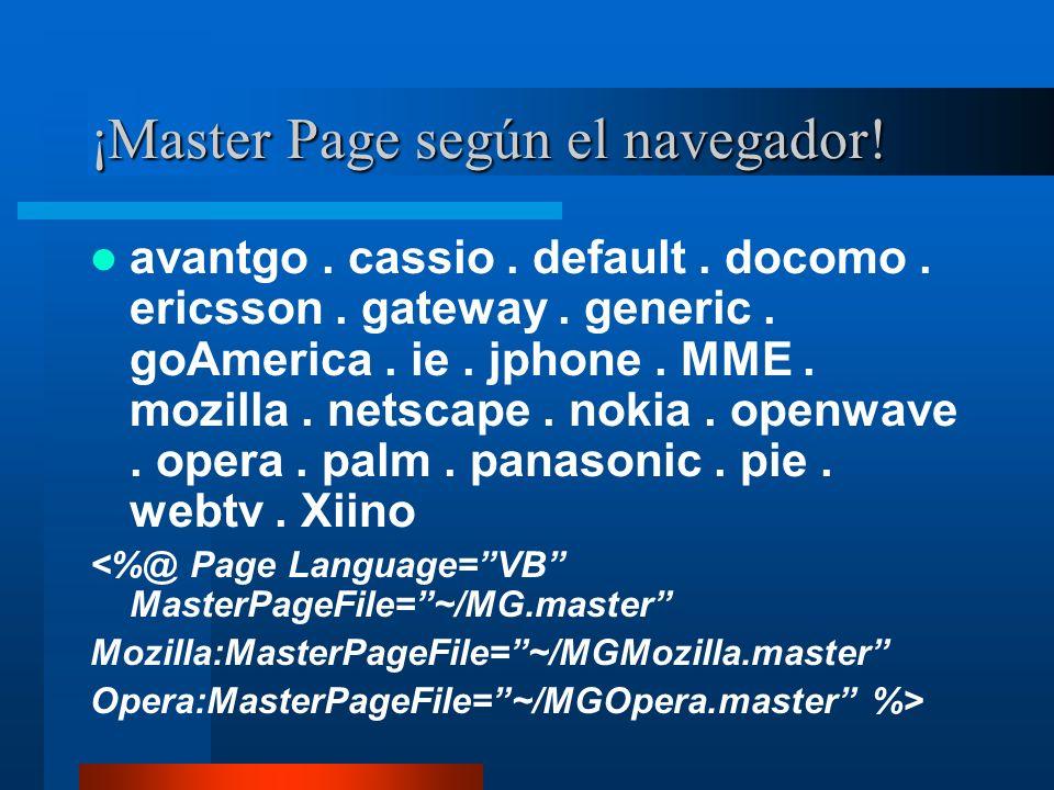 ¡Master Page según el navegador!