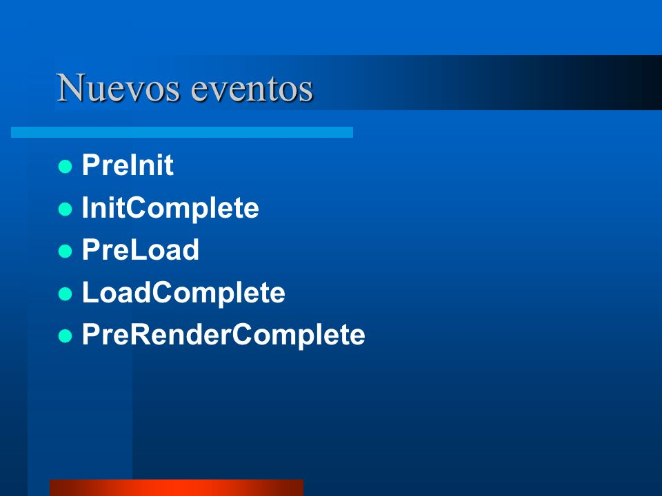 Nuevos eventos PreInit InitComplete PreLoad LoadComplete