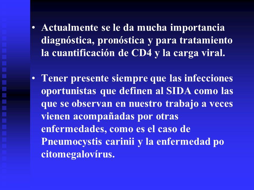 Actualmente se le da mucha importancia diagnóstica, pronóstica y para tratamiento la cuantificación de CD4 y la carga viral.