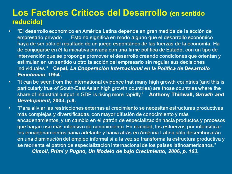 Los Factores Críticos del Desarrollo (en sentido reducido)