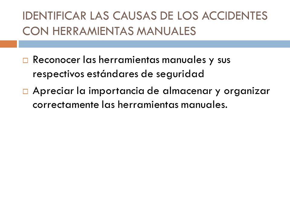 IDENTIFICAR LAS CAUSAS DE LOS ACCIDENTES CON HERRAMIENTAS MANUALES