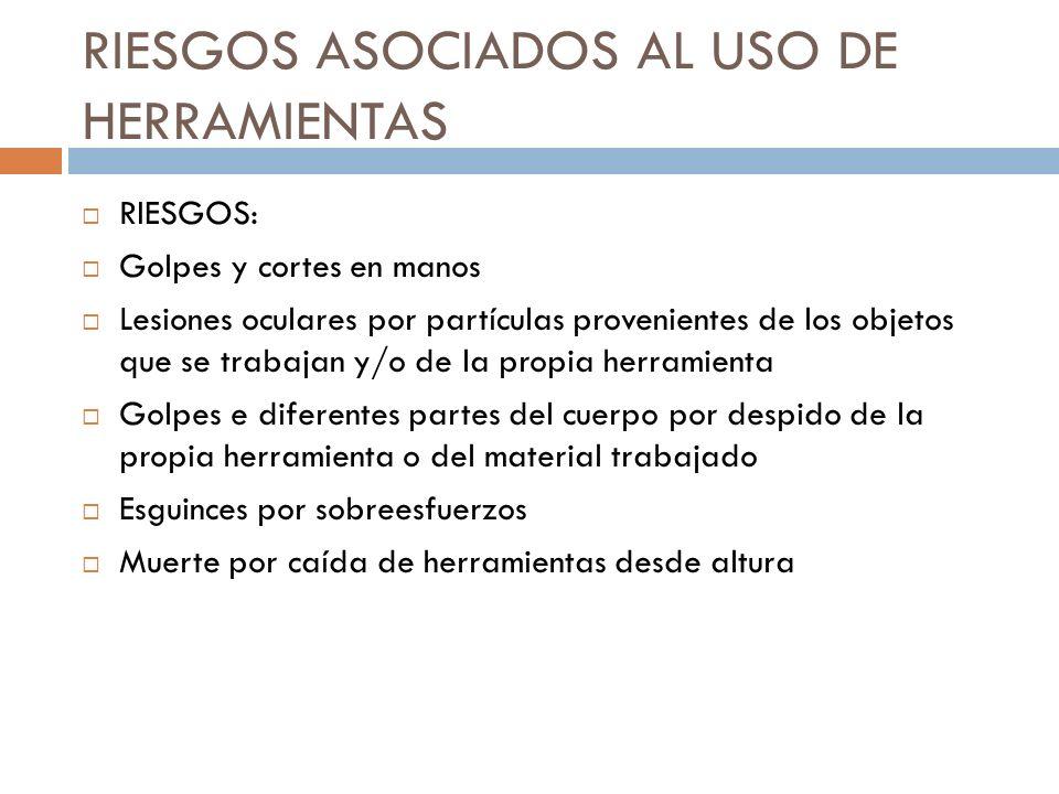 RIESGOS ASOCIADOS AL USO DE HERRAMIENTAS