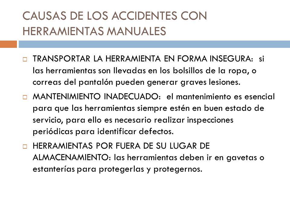 CAUSAS DE LOS ACCIDENTES CON HERRAMIENTAS MANUALES