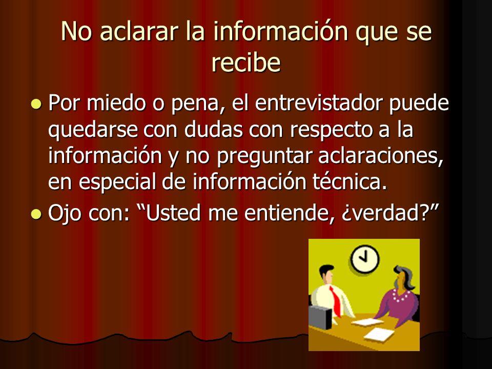 No aclarar la información que se recibe