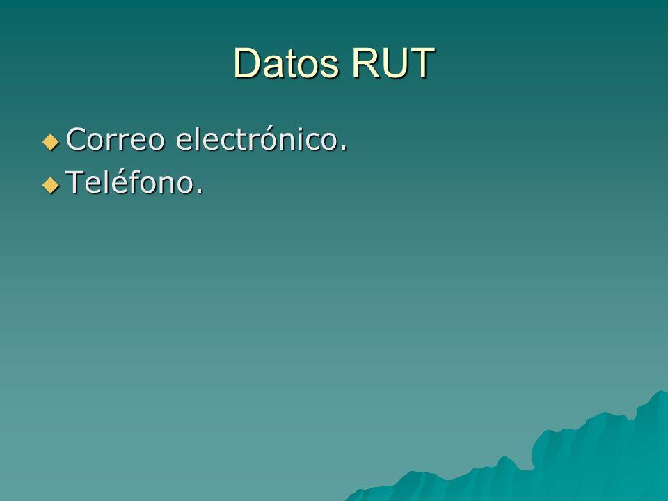 Datos RUT Correo electrónico. Teléfono.