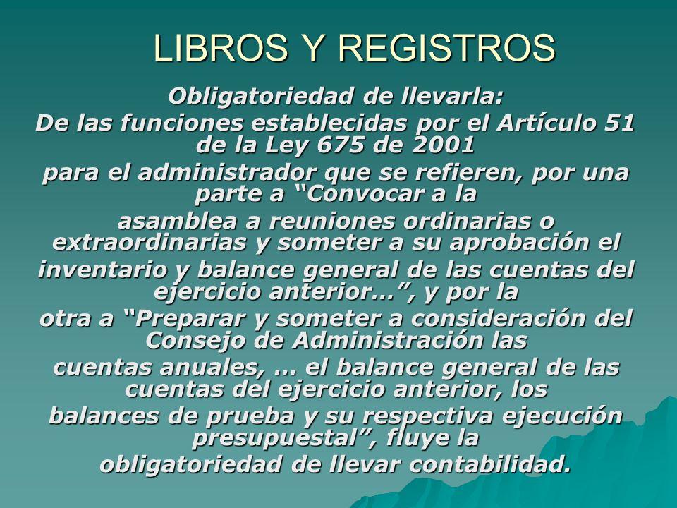 LIBROS Y REGISTROS Obligatoriedad de llevarla:
