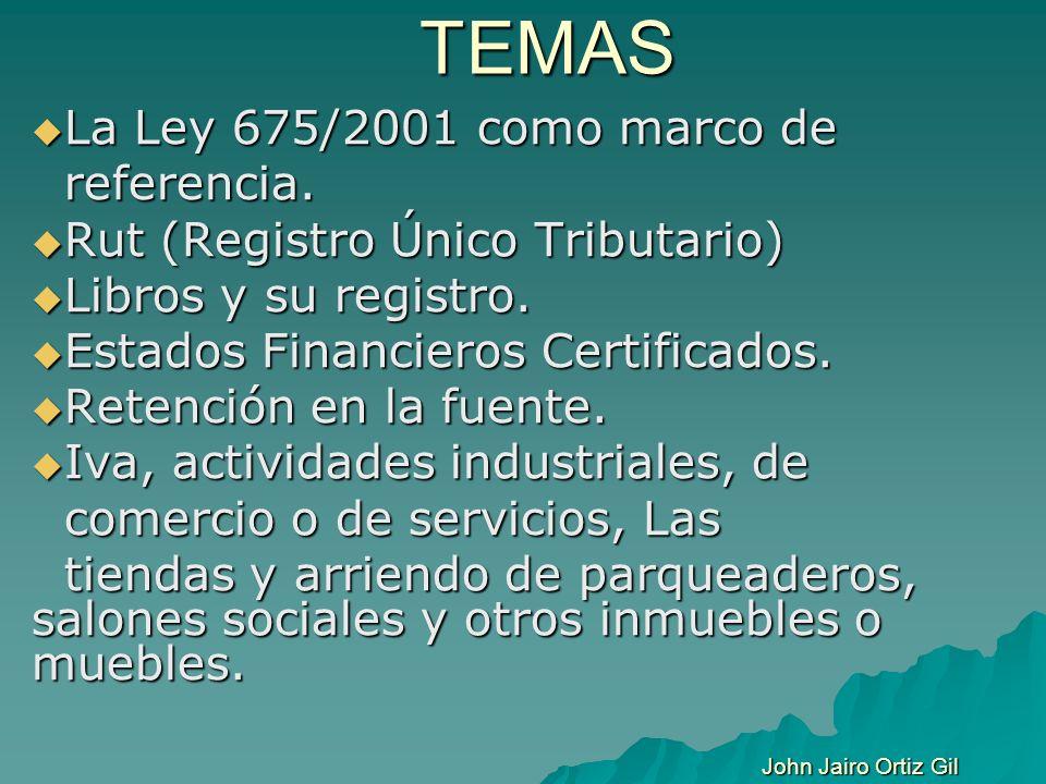 TEMAS La Ley 675/2001 como marco de referencia.