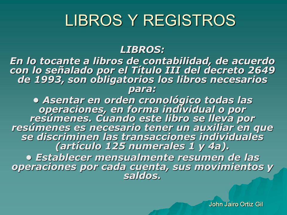 LIBROS Y REGISTROS LIBROS: