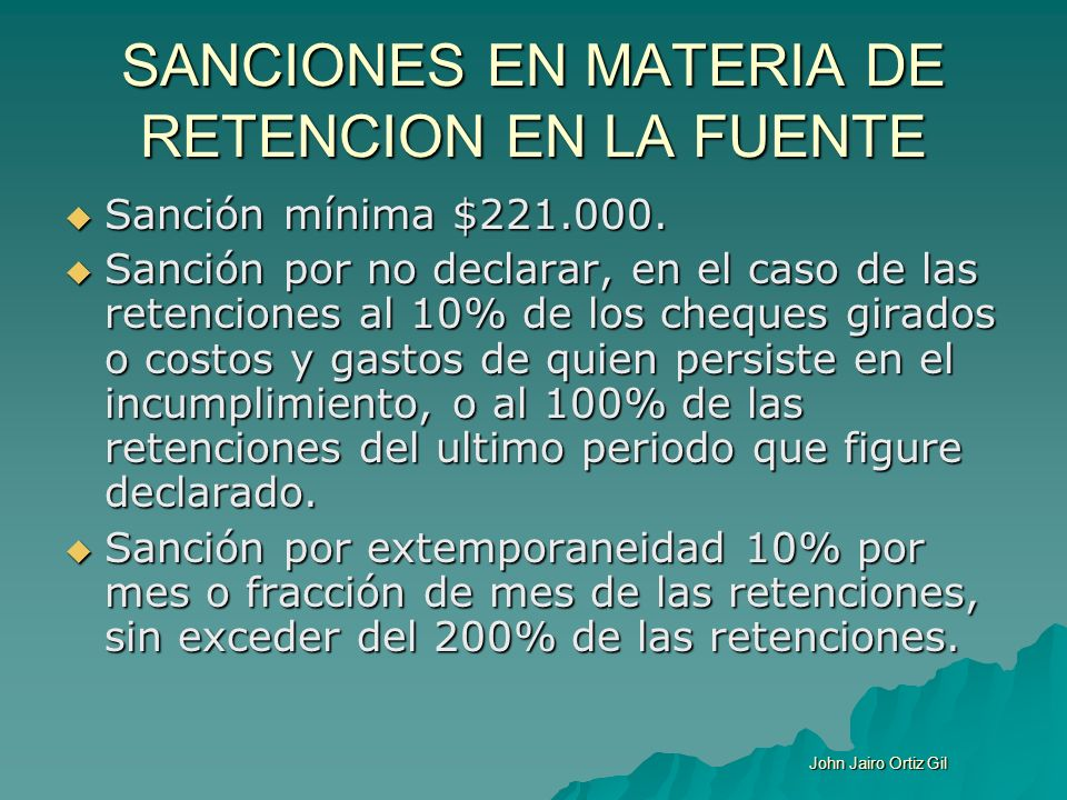 SANCIONES EN MATERIA DE RETENCION EN LA FUENTE