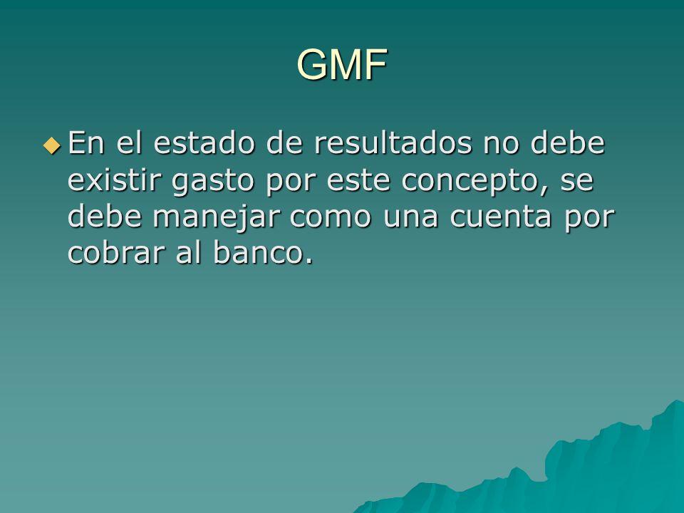 GMF En el estado de resultados no debe existir gasto por este concepto, se debe manejar como una cuenta por cobrar al banco.
