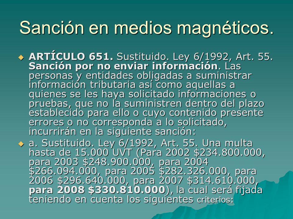 Sanción en medios magnéticos.
