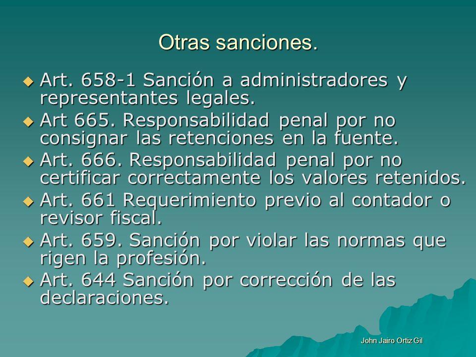 Otras sanciones. Art. 658-1 Sanción a administradores y representantes legales.