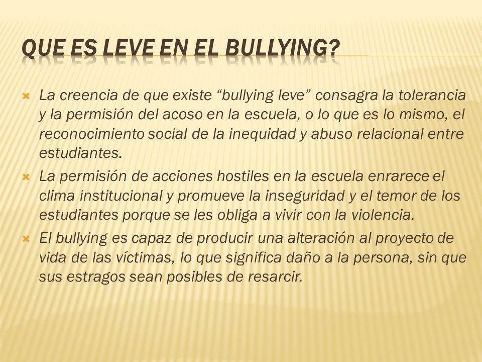 Que es leve en el bullying
