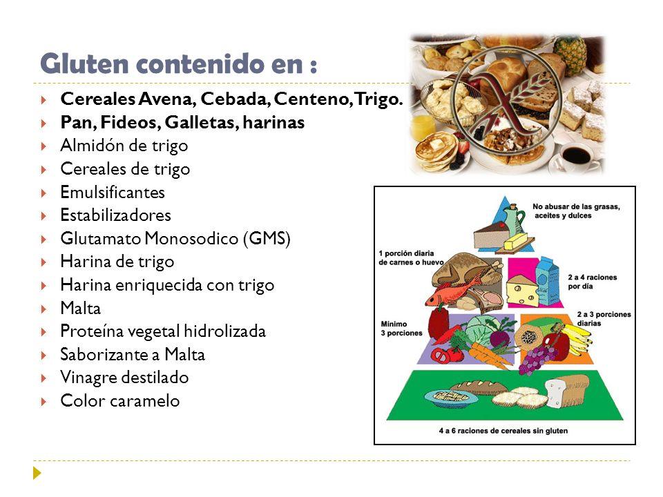 Gluten contenido en : Cereales Avena, Cebada, Centeno, Trigo.