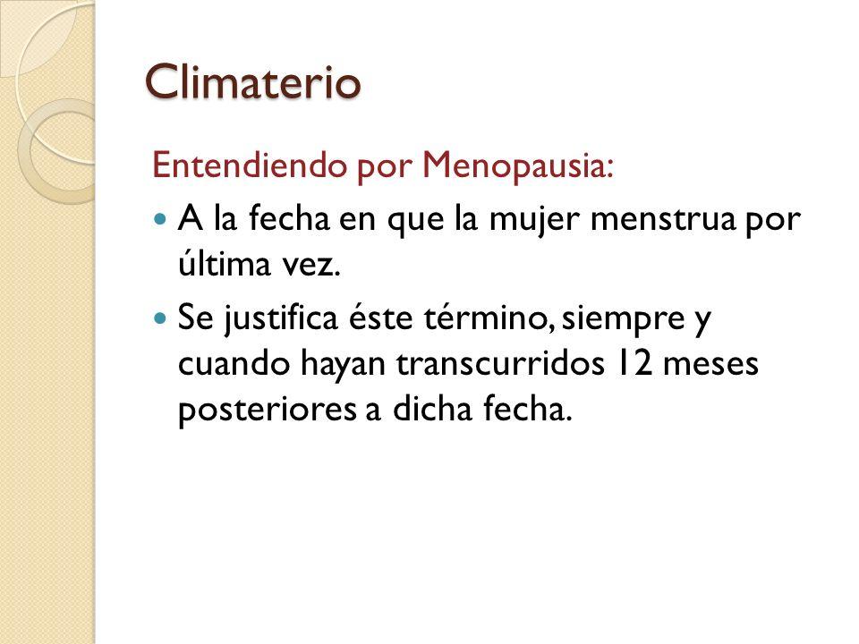 Climaterio Entendiendo por Menopausia: