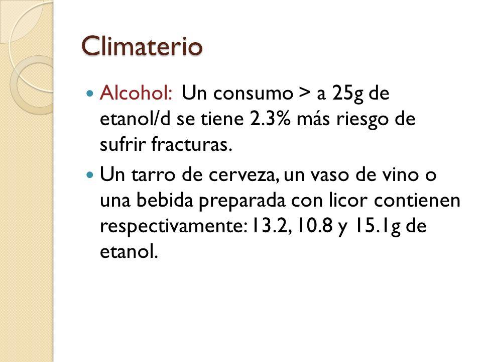Climaterio Alcohol: Un consumo > a 25g de etanol/d se tiene 2.3% más riesgo de sufrir fracturas.