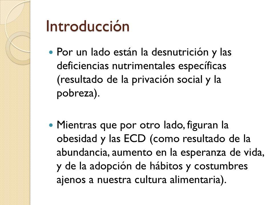 IntroducciónPor un lado están la desnutrición y las deficiencias nutrimentales específicas (resultado de la privación social y la pobreza).