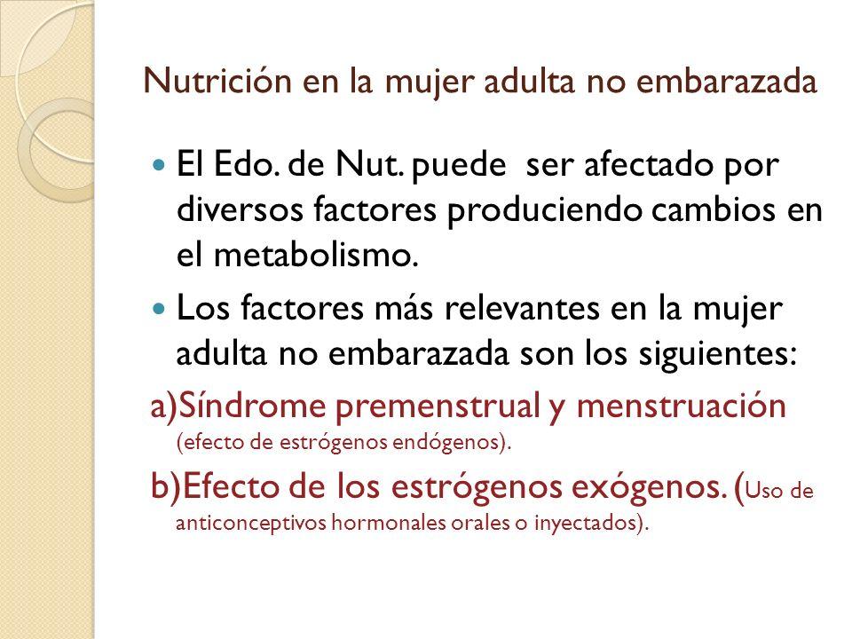 Nutrición en la mujer adulta no embarazada