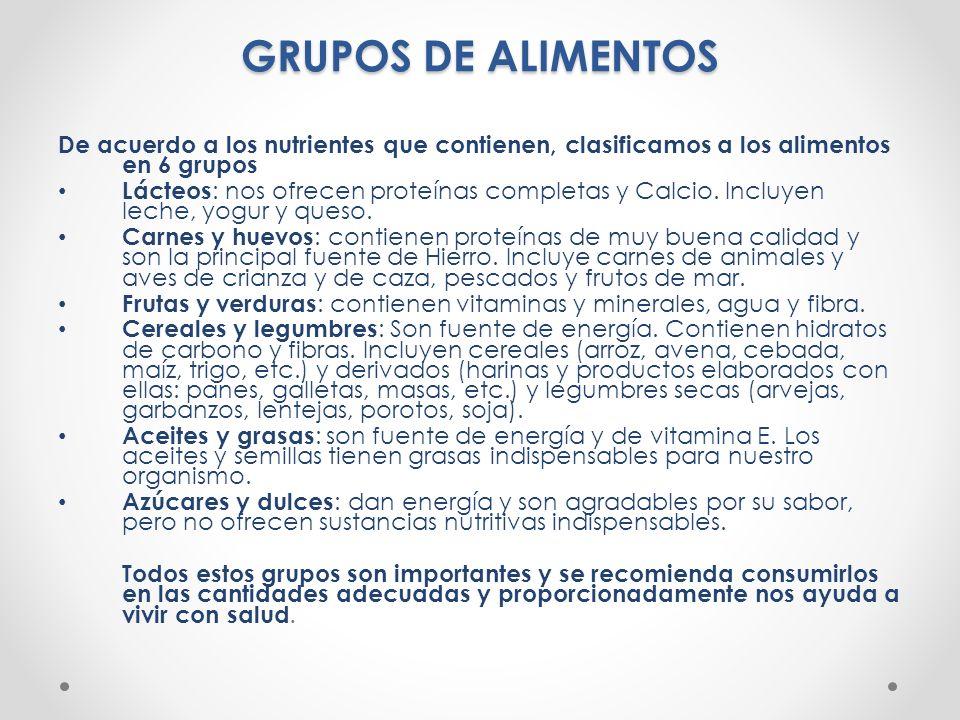GRUPOS DE ALIMENTOS De acuerdo a los nutrientes que contienen, clasificamos a los alimentos en 6 grupos.