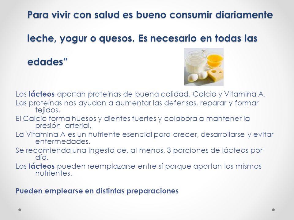 Para vivir con salud es bueno consumir diariamente leche, yogur o quesos. Es necesario en todas las edades