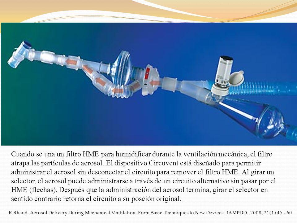 Cuando se una un filtro HME para humidificar durante la ventilación mecánica, el filtro atrapa las partículas de aerosol. El dispositivo Circuvent está diseñado para permitir administrar el aerosol sin desconectar el circuito para remover el filtro HME. Al girar un selector, el aerosol puede administrarse a través de un circuito alternativo sin pasar por el HME (flechas). Después que la administración del aerosol termina, girar el selector en sentido contrario retorna el circuito a su posción original.