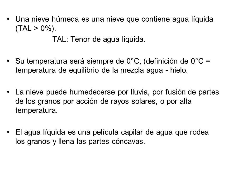 Una nieve húmeda es una nieve que contiene agua líquida (TAL > 0%).